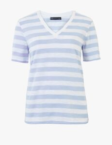 M&S Collection Pure Cotton Striped Straight Fit T-Shirt