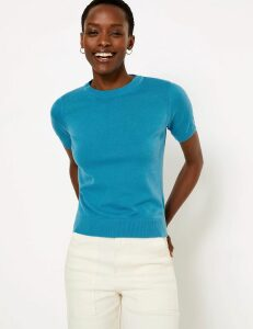 M&S Collection Pure Cotton Knitted Short Sleeve Top