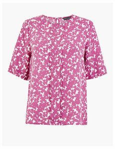 M&S Collection Floral Pleat Front Woven Blouse