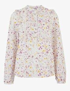 M&S Collection Pure Cotton Floral Broderie Ruffle Blouse