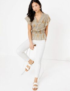 M&S Collection Pure Cotton Paisley V-Neck Waisted Blouse
