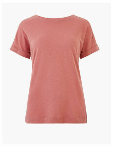 M&S Collection Linen Crew Neck Relaxed T-Shirt