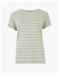 M&S Collection Linen Rich Striped Relaxed Fit T-Shirt