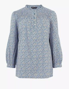M&S Collection Cotton Rich Floral Long Sleeve Blouse