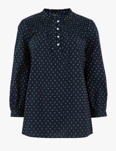 M&S Collection Cotton Rich Floral Long Sleeve Blouse