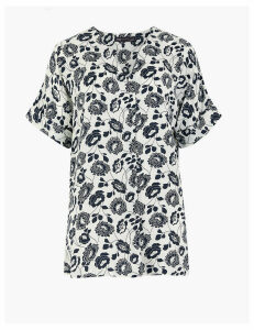 M&S Collection Satin Floral V-Neck Longline Popover Blouse