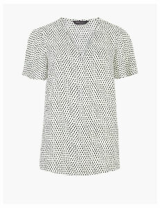 M&S Collection Woven V-Neck Short Sleeve Blouse