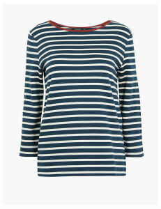 Autograph Ponte Striped Regular Fit 3/4 Sleeve Top