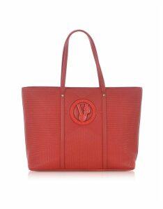 Versace Jeans Designer Handbags, M Dis. 2 Red Polyester Tote Bag