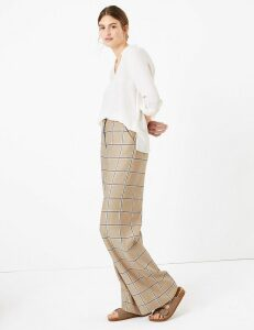 M&S Collection Wide Leg Linen Checked Trousers