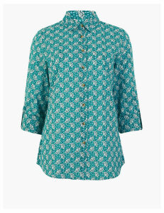 M&S Collection Pure Cotton Floral Relaxed 3/4 Sleeve Shirt