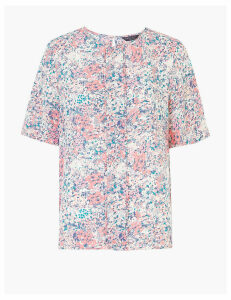 M&S Collection Floral Woven Pleat Front Top