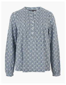 M&S Collection Cotton Rich Ditsy Floral Blouse