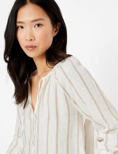 M&S Collection Pure Linen Striped Long Sleeve Blouse