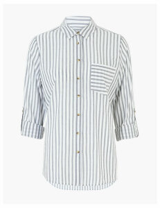 M&S Collection Pure Cotton Striped Relaxed Shirt