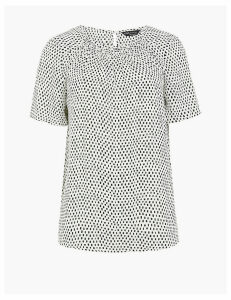 M&S Collection Gathered Front Short Sleeve Blouse