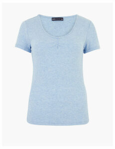 M&S Collection Textured Scoop Neck Fitted Short Sleeve Top