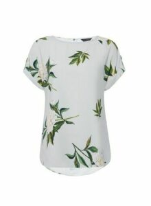 Womens Silver Floral Print Photographic T-Shirt, Silver