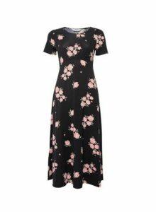 Womens Dp Petite Black Floral Print Empire Midi Dress, Black