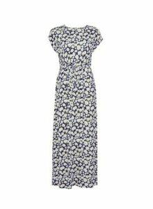 Womens Dp Petite Navy Daisy Print Jersey Maxi Dress - Blue, Blue