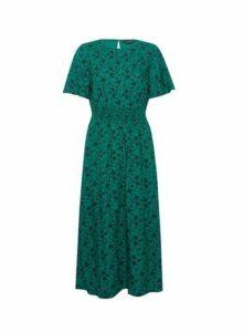 Womens Green Floral Print Shirred Waist Midi Dress, Green
