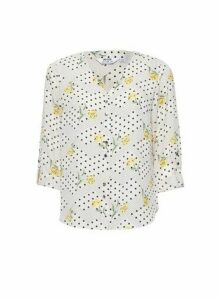 Womens Dp Petite Ivory Floral Print Roll Sleeve Shirt - White, White