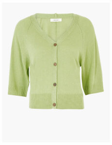 Per Una Linen Ribbed V-Neck Cropped Cardigan