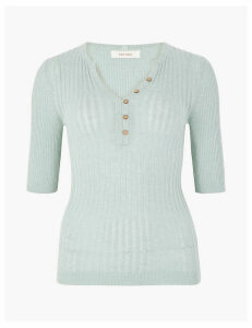 Per Una Ribbed V-Neck Button Detail Jumper