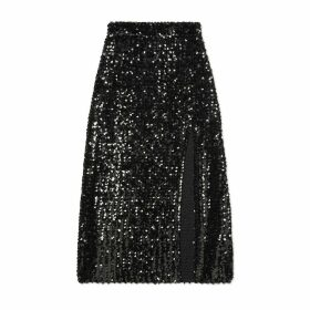 Sequin embroidered skirt with slit