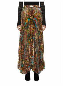 'Katz' pleated floral-print metallic maxi skirt