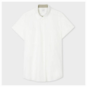 Women's White Cotton And Silk-Blend Short-Sleeve Shirt