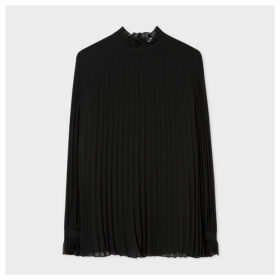 Women's Black Pleated Top With Ruffle Neck