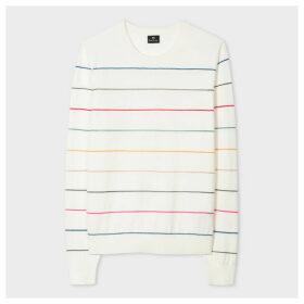 Women's White Cotton-Blend Glitter-Stripe Sweater