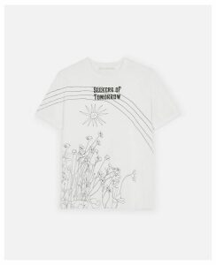 Stella McCartney White Seekers Of Tomorrow T-Shirt, Women's, Size 4