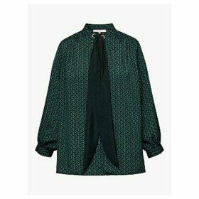 Gerard Darel Mathilda Neck Tie Blouse, Green