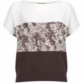 Mint Velvet Chocolate Snake Print Knit Tee