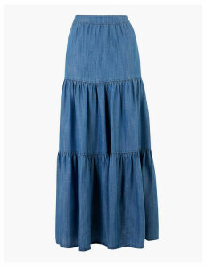 M&S Collection Pure Tencel Tiered Pleated Maxi Skirt