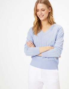 M&S Collection Ribbed V-Neck Relaxed Jumper