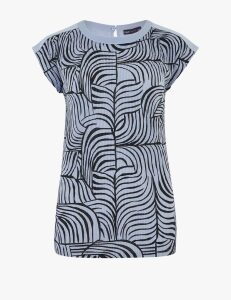 M&S Collection Printed Plisse Short Sleeve Top