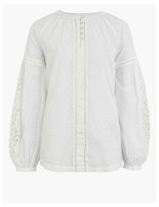 Per Una Pure Cotton Textured Long Sleeve Blouse