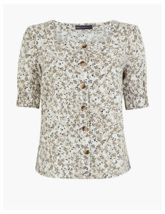 M&S Collection Pure Linen Floral Button Detail Blouse