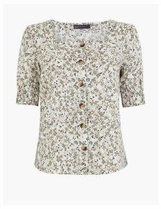 M&S Collection Pure Linen Floral Button Detail Blouse