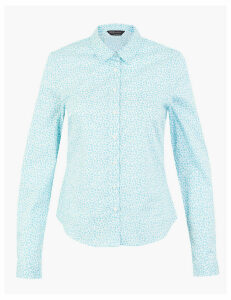 M&S Collection Cotton Floral Print Fitted Shirt