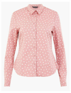 M&S Collection Cotton Spot Print Fitted Shirt