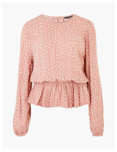 M&S Collection Polka Dot Waisted Long Sleeve Blouse