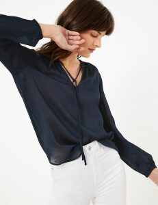 M&S Collection Tie Neck Long Sleeve Blouse