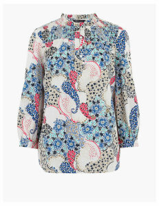 M&S Collection Cotton Paisley High Neck Blouse