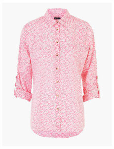 M&S Collection Pure Cotton Floral Relaxed Shirt