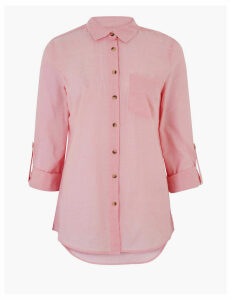 M&S Collection Pure Cotton Relaxed 3/4 Sleeve Shirt