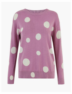 M&S Collection Pure Cotton Spot Print Crew Neck Jumper